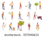 farmer gardener cartoon people... | Shutterstock .eps vector #557040613