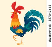 cartoon rooster vector.... | Shutterstock .eps vector #557041663