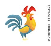cartoon chicken rooster posing. ... | Shutterstock .eps vector #557041678