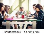 businessman having headache... | Shutterstock . vector #557041708