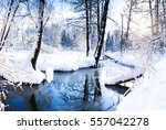 Winter River In Winter Forest...