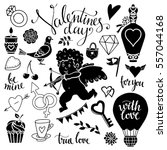 valentines day hand drawn ... | Shutterstock .eps vector #557044168