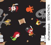 cute pirate theme seamless... | Shutterstock .eps vector #557047474