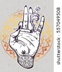 tattooed hand holding a weed... | Shutterstock .eps vector #557049508
