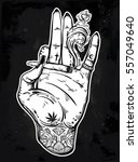 tattooed hand holding a weed... | Shutterstock .eps vector #557049640