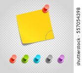 color pins and paperclip... | Shutterstock .eps vector #557054398