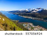 Juneau, Alaska. Aerial view of the Gastineau channel and Douglas Island.