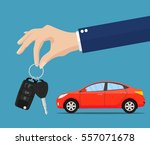 dealer giving keys chain to a... | Shutterstock .eps vector #557071678