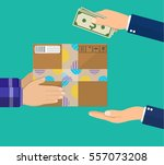 human hand holds money and pay... | Shutterstock .eps vector #557073208