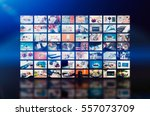 multimedia video wall... | Shutterstock . vector #557073709