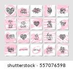 set of pink grunge happy... | Shutterstock . vector #557076598