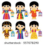 girls are wearing an old... | Shutterstock .eps vector #557078290