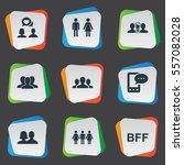 set of 9 simple buddies icons.... | Shutterstock .eps vector #557082028