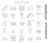 thin line flat fast food menu...