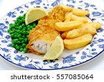 Cod Fish   Chips On A Blue Plate
