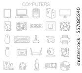 thin line flat design computer... | Shutterstock .eps vector #557085340