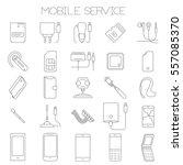 thin line flat design mobile... | Shutterstock .eps vector #557085370