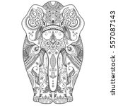 poster with patterned elephant   Shutterstock . vector #557087143