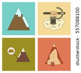 assembly flat icons mountains... | Shutterstock .eps vector #557088100