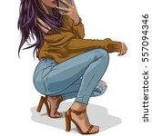 sexy brunette squatting on high ... | Shutterstock .eps vector #557094346