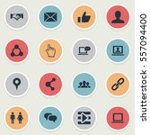set of 16 simple social icons.... | Shutterstock . vector #557094400