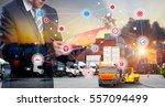 double exposure of businessman... | Shutterstock . vector #557094499