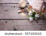 sea salt  towels  aroma oil in ... | Shutterstock . vector #557103310