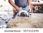 construction man working with a ... | Shutterstock . vector #557112193
