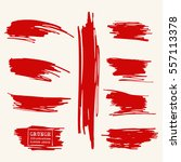 vector set of blood red brush... | Shutterstock .eps vector #557113378
