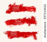 vector set of blood red brush... | Shutterstock .eps vector #557113423
