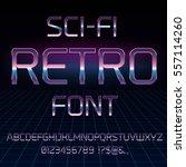 sci fi 80's retro alphabet... | Shutterstock .eps vector #557114260
