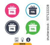 70  sale gift box tag sign icon....   Shutterstock .eps vector #557122228
