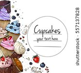 cupcakes line drawn on a white... | Shutterstock .eps vector #557137828