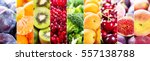 collage of fresh fruits and... | Shutterstock . vector #557138788