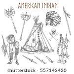 set of american indians | Shutterstock .eps vector #557143420