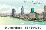 sketch cityscape of saigon city ... | Shutterstock .eps vector #557144350