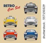 Colored Retro Car Set . Black ...