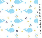 seamless pattern with cute blue ... | Shutterstock .eps vector #557152810