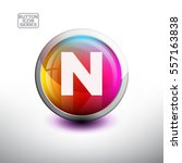 letter n in 3d glossy button... | Shutterstock .eps vector #557163838