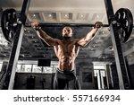 bald bodybuilder preparing for... | Shutterstock . vector #557166934