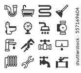 plumbing icons set on white... | Shutterstock .eps vector #557169604