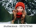 Winter Happy Selfie. Young...