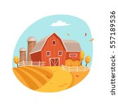autumn scenery with house and... | Shutterstock .eps vector #557189536
