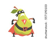 pear dressed as superhero with... | Shutterstock .eps vector #557190103