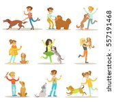 Stock vector children and dogs illustrations set with kids playing and taking care of pet animals 557191468