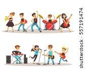 children musicians performing... | Shutterstock .eps vector #557191474