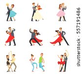 professional dancer couple... | Shutterstock .eps vector #557191486