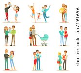 young and expecting parents... | Shutterstock .eps vector #557191696