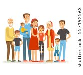 happy big caucasian family with ... | Shutterstock .eps vector #557192563