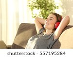 one relaxed teen resting and... | Shutterstock . vector #557195284